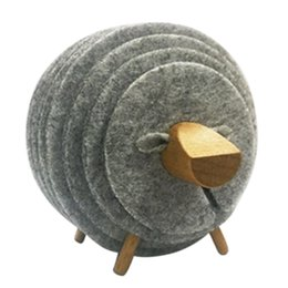 $enCountryForm.capitalKeyWord UK - Sheep Shape Anti Slip Cup Pads Coasters Insulated Round Felt Cup Mats Japan Style Creative Home Office Decor Art Crafts Gift,L