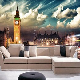 london home decor UK - Dropship Custom Mural Wallpaper London Big Ben City Night Wallpaper For Bedroom Living Room TV Sofa Background Walls Home Decor Wallpaper