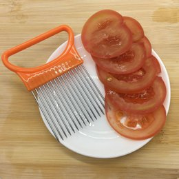 slicer easy cutter Australia - Kitchen Easy To Cut Holder Fork Vegetable Plastic Cutter Tomato Slicer Onion Metal Meat Cutter Needle Stainless Steel HK0485