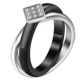 $enCountryForm.capitalKeyWord Australia - New Fashion Designer CZ Cubic Zirconia Titanium Stainless Steel and Ceramic Cross Womens Ring Bands Lovers Jewelry Gifts for Sale Wholesale
