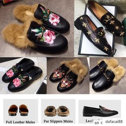 Wholesale rugby house online – design Women Designer Mules Flats fur men luxury house Slippers Flat Loafers Casual Shoes Princetown outdoor Furry Slides