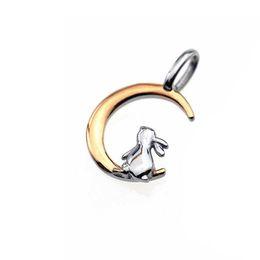 $enCountryForm.capitalKeyWord NZ - Pendant ARPSS163-steel+rose gold New 316L rabbit on moon pendant (NO CHAIN) unisex daily wear prefect gift couple jewelry