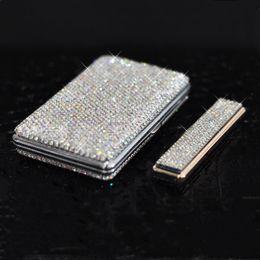 Lighter casing online shopping - Luxury Crystal Thin Cigarette Lighter Metal Usb Charging Lighters Windproof Diamond Rhinestone Lighter Cigarette Case for Women