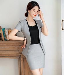 Work Suits Styles Australia - Formal Ladies Grey Blazer Women Business Suits Skirt and Jacket Work Wear Sets Office Uniform Styles