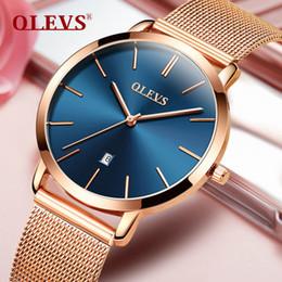 Luxury Women Wrist Watch Australia - Woman Brand Luxury Women Rose Gold Stainless Steel Watches Auto Date Ultra Thin Quartz Wrist Ladies Watch Blue Q190430