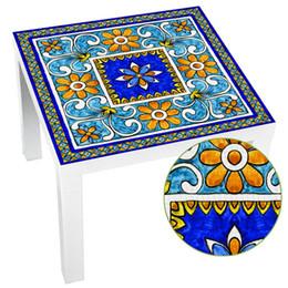 Self Adhesive Furniture Pvc UK - Italian Majolica Tile Lack Table Tops Wall Art Furniture Removable Self-Adhesive Waterproof Wallpaper Wall Sticker