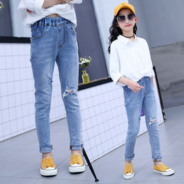 trends jeans Australia - 3T-10T Girl Jeans Kids Ripped Jeans Fashion Casual Stretch Jean Children 2019 Trend Hole Denim Trousers Student Jean