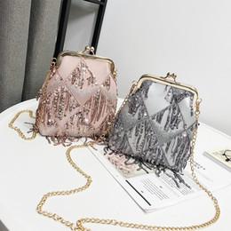 Bag Frames Australia - 2019 New Brand Women Rivet Shoulder Bag Designer Crossbody Women Frame Bag Female Pu Leather Sequined Tassel Messenger Bag 232