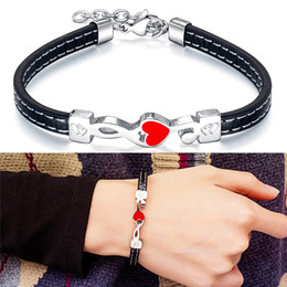 ladies wrist chain Australia - Women Ladies Stainless Steel Heart Shape Charm Bracelets PU Leather Cuff Bangle Wrist Circlet Bracelet Anniversary Birthday Gift for Wife