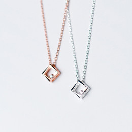 silver chain delicate wholesale NZ - delicate rose gold cz charm S925 silver female Korean necklace hollow polygon geometry prismatic chain necklace special occasions gift