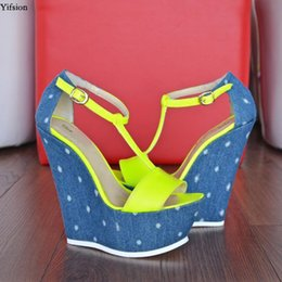 $enCountryForm.capitalKeyWord Australia - Rontic New Women Platform T-strap Sandals Sexy Wedges High Heels Shoes Open Toe Yellow Casual Shoes Women US Plus Size 5-15