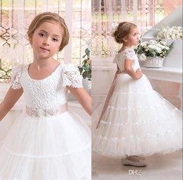 White Communion Dresses Short Australia - Cheap White Communion Dresses Jewel Short Sleeves Princess Flower Girls Dresses For Wedding Ankle Length Tulle Zipper Party Dress