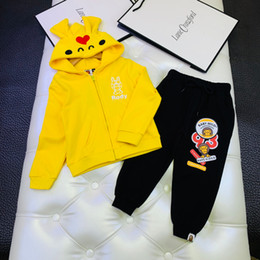 Spring ear online shopping - Children s hoodies kids designer clothing cute ear hat coat trousers autumn boys and girls fashion cotton terry material sets
