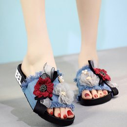 girl handmade sandals Australia - Lace bow-knot big flowers slippers girls open toe flat sandals women handmade lace floral flip flops fashion denim tassel slides