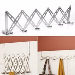 Decorative Metal Wall Australia - 6 Hook Flexible Door Hanger Rack Decorative Wall Shelf Bathroom Kitchen Organizer Metal Coat Hooks For Hanging Hanger Holder