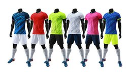 top quality youth soccer jerseys Canada - Top Quality Men and Youth Cheap Soocer Jerseys Football Sets Blank Comfortable Training Suits Size S to 3XL Twelve Colors Shorts with Pocket
