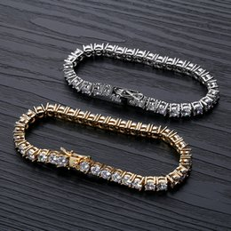 tennis jewelry for women NZ - 18K Gold Plated Hip Hop Zircon Tennis Chain Bracelet 2.5-6mm Single Row Iced Out Diamond for Men & Women Cuban Chains Rapper Jewelry Gifts