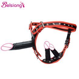 strap sex shops Australia - Belsiang Removable Strapon Double Harness Dildo Anal Lesbian Strap On Dildo Chastity Belt Pants Sex Shop Sex Toys For Woman T200511