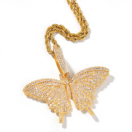 girls big hips Australia - Hotsale CZ Big Butterfly Pendant Necklace Plated Plated CZ Butterfly Necklace Mens Hip Hop Bling Jewelry Gift for Girls Women Wholesale