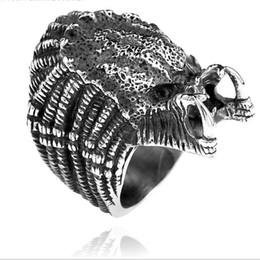 Stainless Steel Indian Head Rings Australia - Men's Stainless Steel Titanium Alien Movie Predator Mask Skull Head Monster Ring
