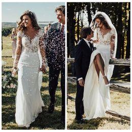 16ab0f73f627 Sheer Long Sleeves Slim Mermaid Wedding Dresses 2019 Modest Lace Appliques  Slim Garden Bridal Gowns Customized Formal Long Robe De Mariee