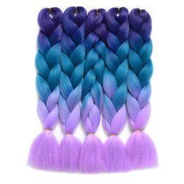 Blonde hair Blue extensions online shopping - Rare Har Long Ombre Kanekalon Jumbo Synthetic Braiding Hair Crochet Blonde Pink Blue Grey Hair Extensions Jumbo Braids