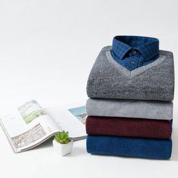 Red Black Grey Shirts Australia - Warm Shirts Men Plus Velvet Business Outside Wear Body Pure Color Grey Blue Red Black Shirt Fake Two Long Sleeve Shirt Men