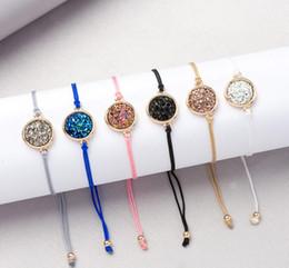 $enCountryForm.capitalKeyWord Australia - Handmade Crystal Quartz Druzy Bracelet New Arrival Colorful Natural Stone Rope Bracelets Bangles for Women Summer Beach Jewelry GB827