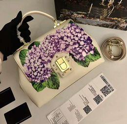 $enCountryForm.capitalKeyWord Australia - Designer luxury handbags purses beige genuine cow leather totes purple flowers printed crossbody bag brand ladies shoulder bags 26*19*11cm