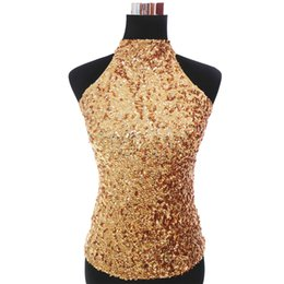 gold sequins tops Australia - Sexy Allover Halter Sequin Top Vest Women's T-shirt Sleeveless Short Tank Tops Paillettes Clubwear Party Festival Top
