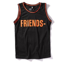 Large friends online shopping - 2019 new VLONE FRIENDS large V mesh breathable sports men and women vest bottoming shirt basketball clothing T shirt