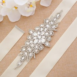 $enCountryForm.capitalKeyWord Australia - Fashion Pearls Wedding Belt Net Hot drilling Handmade Crystal Flat back Bridal Sash Simple Bridal Belt Sash For Wedding Dresses Sewing S101S