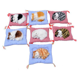 Discount kids car craft - Cute Sleeping Cats Dolls Baby Lovely Simulation Animal Doll Plush Stuffed Cats Craft Kids Toys with Sound Car Home Decor