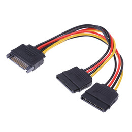 Sata Disk Connector Australia - 20cm 15Pin SATA Male to Female 2 SATA Splitter Cable Power Adapter Cord Extension Wire Line for HDD Hard Disk Splitter Connector