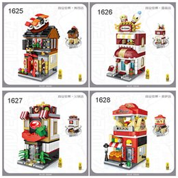 street building toys UK - Mini Block Mini Street Restaurant Ice Cream Building Blocks Toy 1625-1628