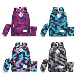 $enCountryForm.capitalKeyWord UK - Girls 3 Pieces A Set Backpack Casual Preppy Style Travel Backpacks School Bag For Junior High School Student Hand Bags Schoolbag