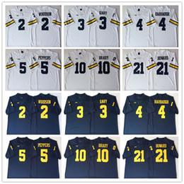 Football Jersey Brady NZ - NCAA Mens Michigan Wolverines Blue White 2 WOODSON 3 GARY 4 HARBAUGH 5 PEPPERS 10 BRADY 21 HOWARD Football Jerseys good quality