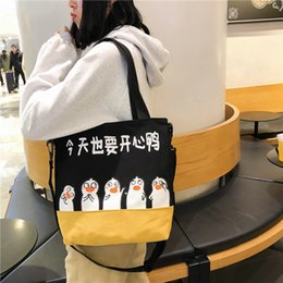large canvas prints black white NZ - Charismatic2019 Piggy Printing Literature Canvas Originality Shopping Bag Menderya Japanese And Korean Soft Girls Single Shoulder Satchel