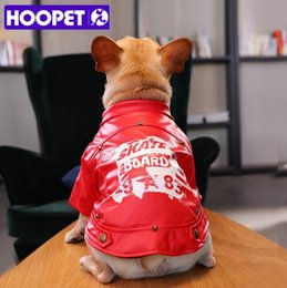 Wholesale HOOPET Winter Warm Biker Jacket Clothes Windproof Pet Dogs Costume Handsome Printing Small and Medium sized Dog Jacket Coat