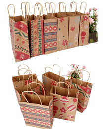 $enCountryForm.capitalKeyWord Australia - Christmas Kraft Paper Printed Gift Bags Handbag XMAS Presents Favors Toys Clothes Wrap Totes Shopping Carrier Bag Packaging colorful