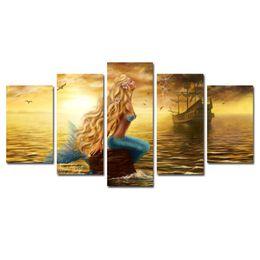 Oil painting seaside online shopping - 5 Panles Beautiful Princess Sea Mermaid Paintings Mermaid Pictures Prints Seaside Painting Wall Art For Home Decor