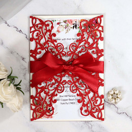 red wedding card ribbon NZ - Red Sprinkle Customize Printing Laser Cut Wedding Invitation Card with Ribbon Hollow Flower Glittery Quiceanera Invitations by DHL
