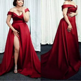 simple off white prom dresses 2019 - Dark Red Plus Size Evening Dresses 2019 Off The Shoulder Split Side Long Simple Prom Dresses Custom Made Pregnant Evenin