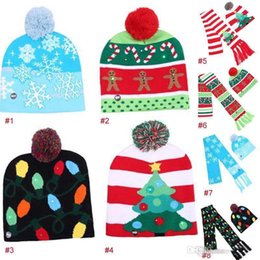$enCountryForm.capitalKeyWord Canada - 4 style Christmas Led Lighting Hat & Cap Children Adult Flexibility Crochet Snowflake Christmas Tree LED Beanie Hat + Scarf free shipping