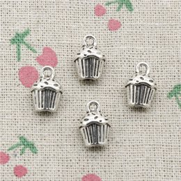 $enCountryForm.capitalKeyWord Australia - 53pcs Charms 3D cupcake cake 13*10*8mm Tibetan Silver Vintage Pendants For Jewelry Making DIY Bracelet Necklace