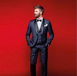 Cheap Wedding Vests Australia - Classy Navy Blue Wedding Tuxedos Slim Fit Suits For Men Groomsmen Suit Three Pieces Cheap Prom Formal Suits (Jacket +Pants+Vest+Bow Tie)61
