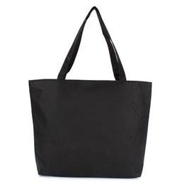 $enCountryForm.capitalKeyWord Australia - Cheap Wholesale Customizable Blank Women's Casual Handbag Quality Durable Canvas White Black Color Shoulder Bag Plain Shopping Bags