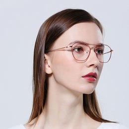 $enCountryForm.capitalKeyWord Australia - Ma'am Full Frame Plain Glass Mirror Round Metal Glasses Can Match Myopia Spectacle free shipping