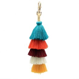 Wholesale Women Fashion Bohemian Pom Pom Tassel Layered Colorful Bag Charm Key Chain Keychain Ladies Phone Case Wallet Key z0502