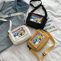 Discount simple canvas messenger bag - 2019 Summer New Hot Fashion Cartoon Canvas Bags for Women Female Simple Zipper Handbags Messenger Bags Shoulder